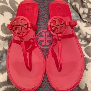 Tory Burch Mini Ruby Red Jelly Sandals
